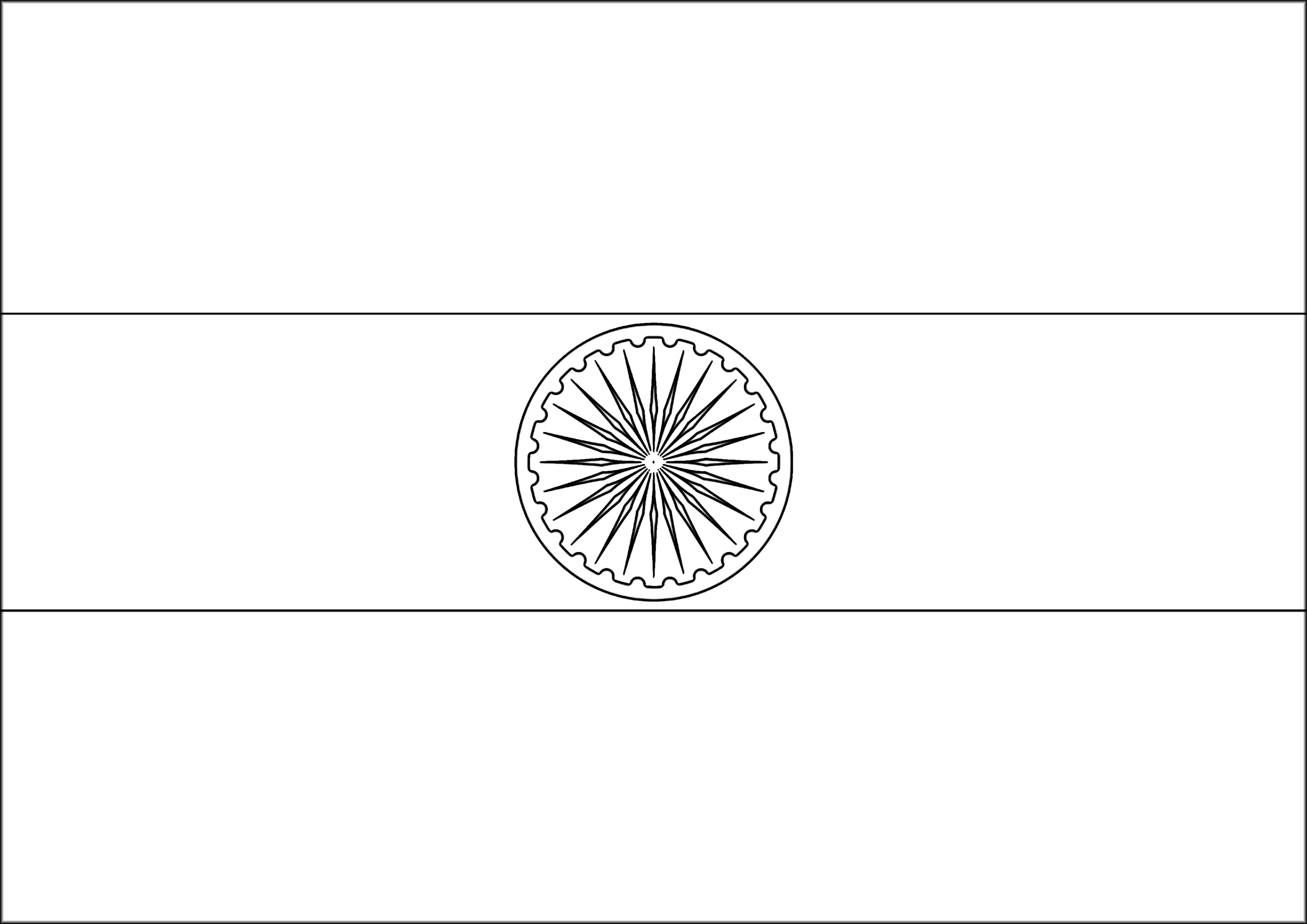India Flag Black: India Flag Coloring Page