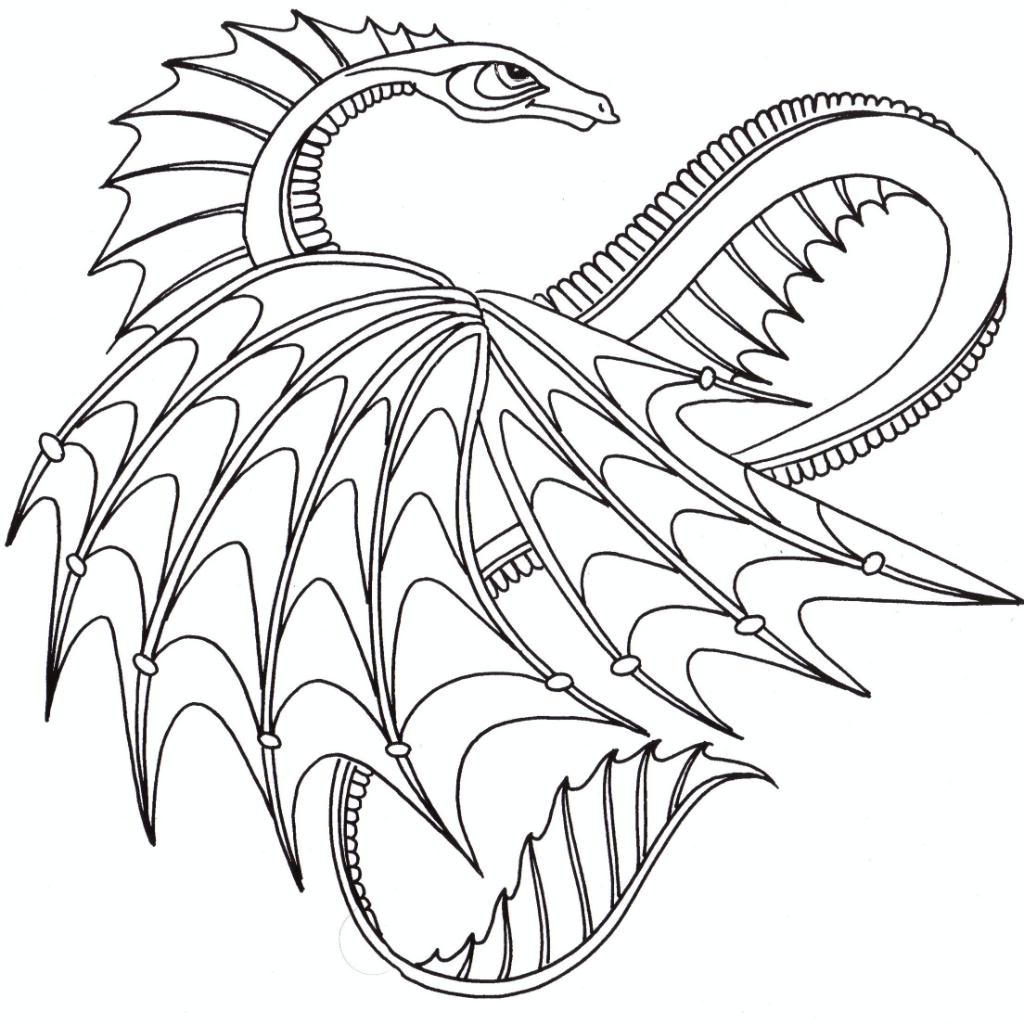 Free Printable Coloring Pages For Adults Advanced Dragons Coloring Home