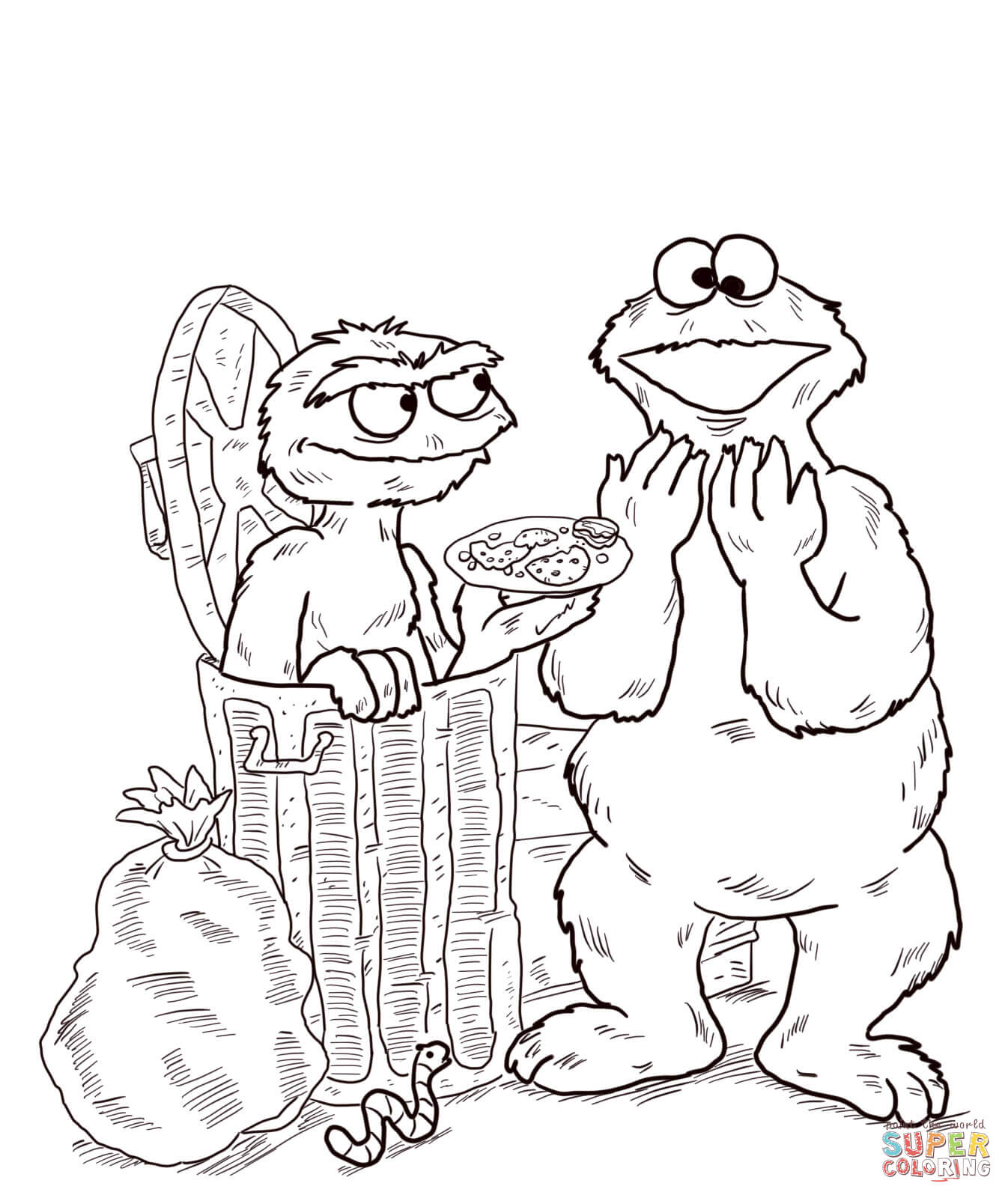 coloring pages oscar the grouch - photo#36