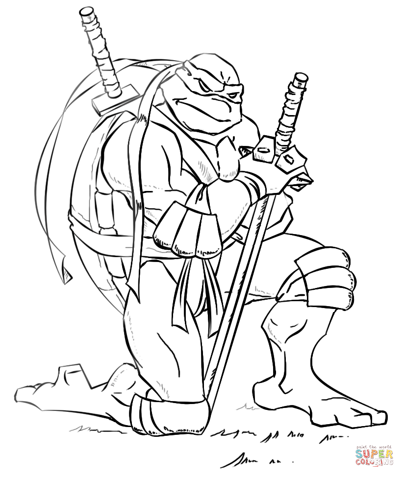Ninja Turtle Leonardo Coloring Page - Coloring Home