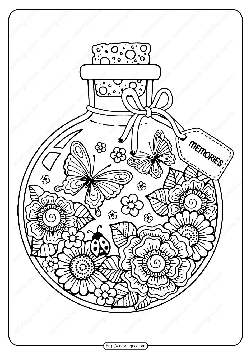Printable Summer Memories Pdf Coloring Page | Coloring books, Coloring pages,  Bottle drawing