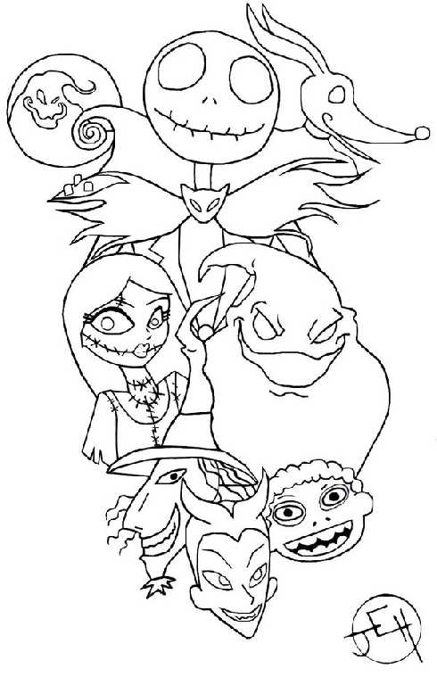 Nightmare Before Christmas Coloring Pages For Kids Coloring Home