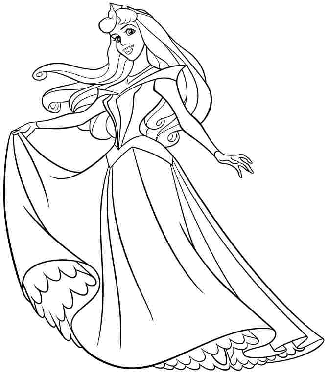Princesses Aurora Coloring Page Coloring Home