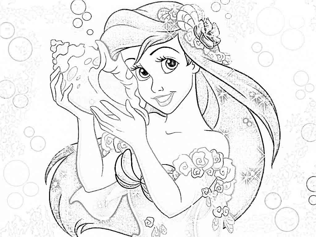 Disney Princesses Coloring Pages Ariel Coloring Home Disney Princess To Color For Free