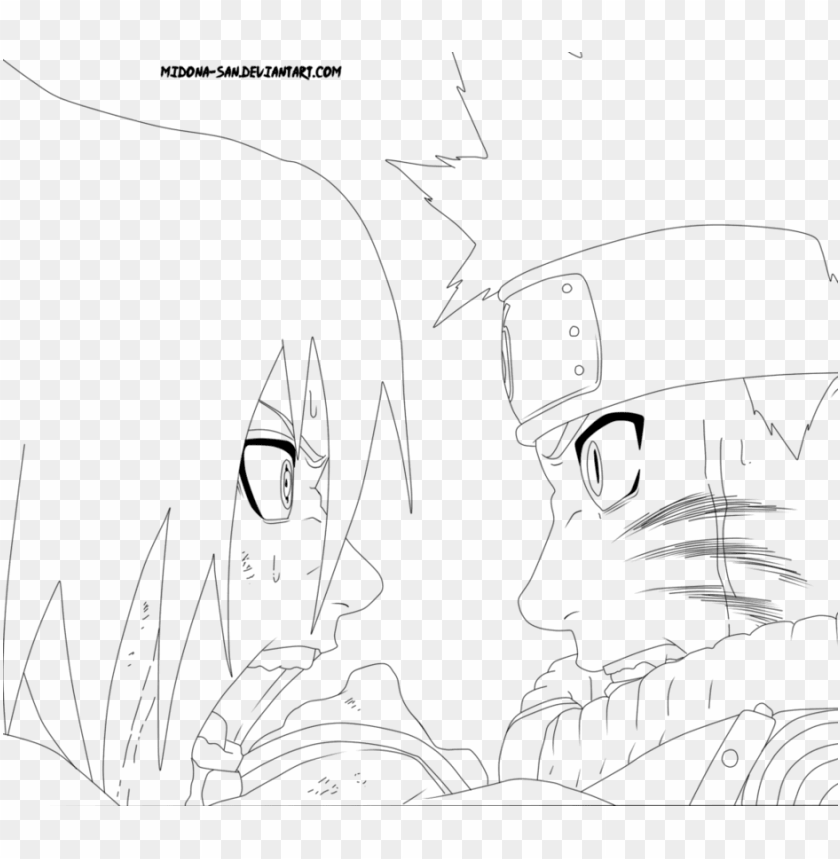 aruto vs sasuke lineart by midona san - naruto vs sasuke coloring pages PNG  image with transparent background | TOPpng