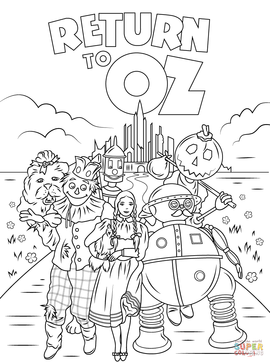 return to oz coloring page free printable coloring pages