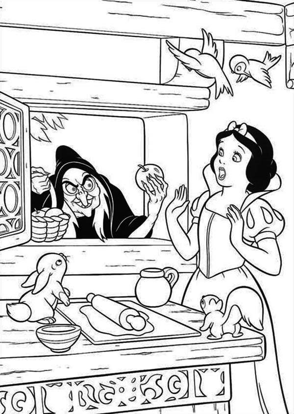 Snow White is Surprised to See Witch at Her Window Coloring Page ...