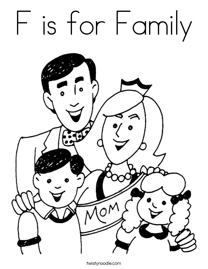 F is for Family Coloring Page - Twisty Noodle