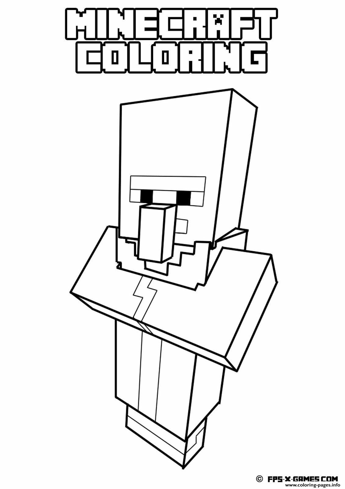 Print minecraft coloring kids simple Coloring pages