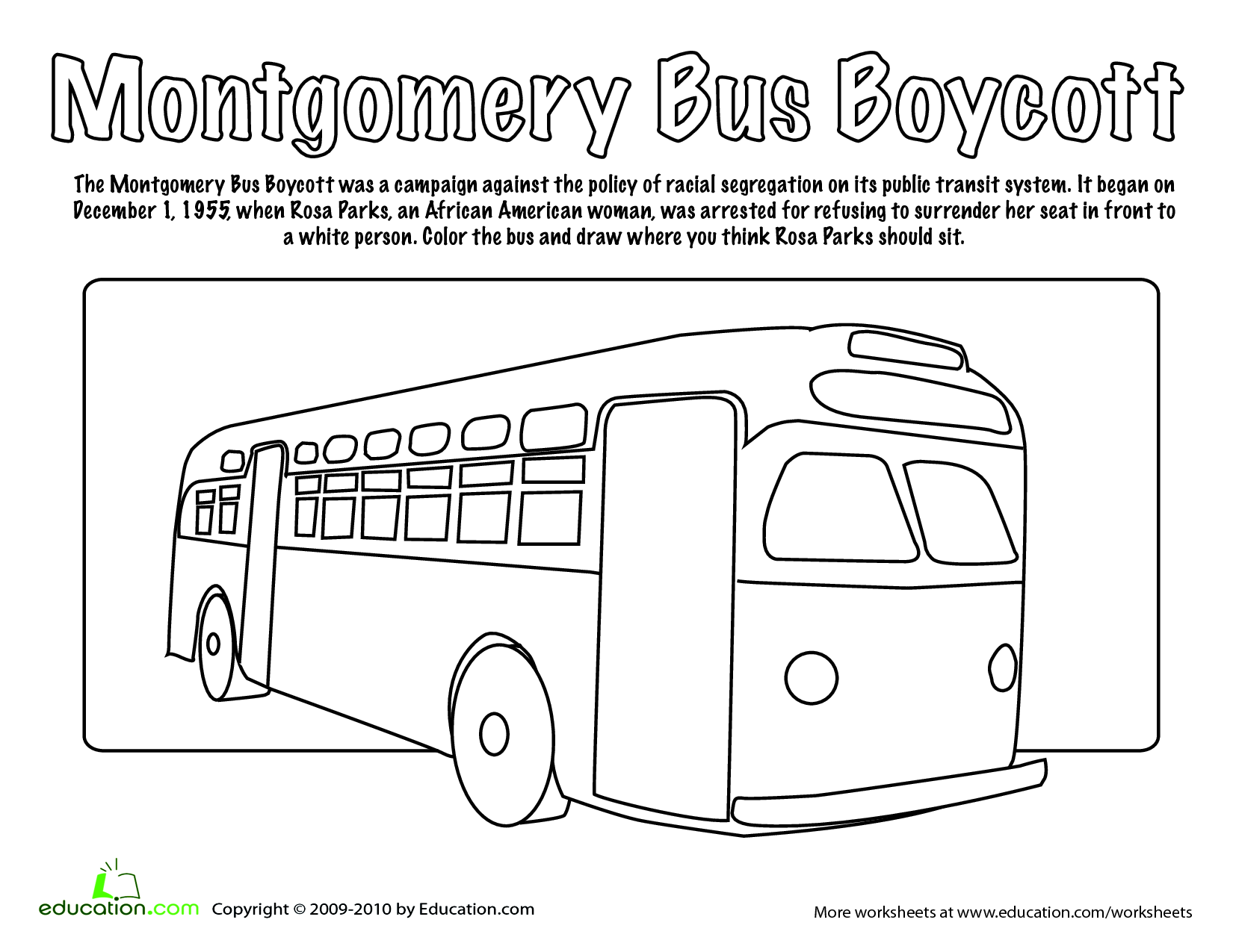 worksheet Rosa Parks Worksheets rosa parks coloring pages az page