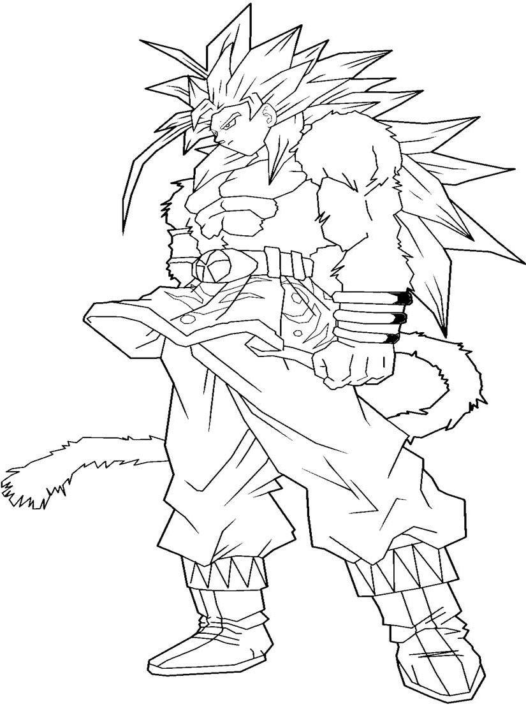 Dragon Ball Z Goku Super Saiyan 4 Coloring Pages ...
