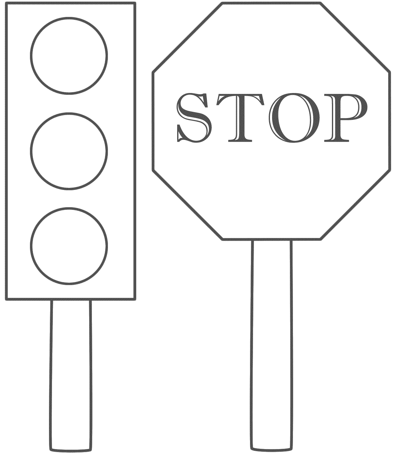 Traffic Light And Stop Sign - Coloring Page (Safety ...