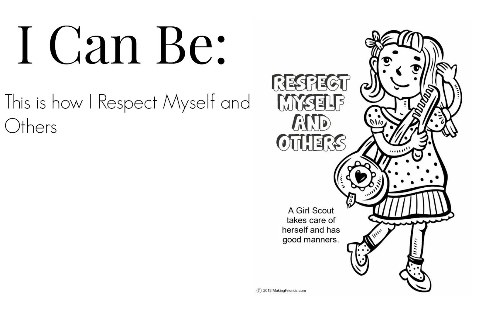 Free coloring pages for girl scouts - Coloring Page Respect Myself And Others High Quality Coloring Pages
