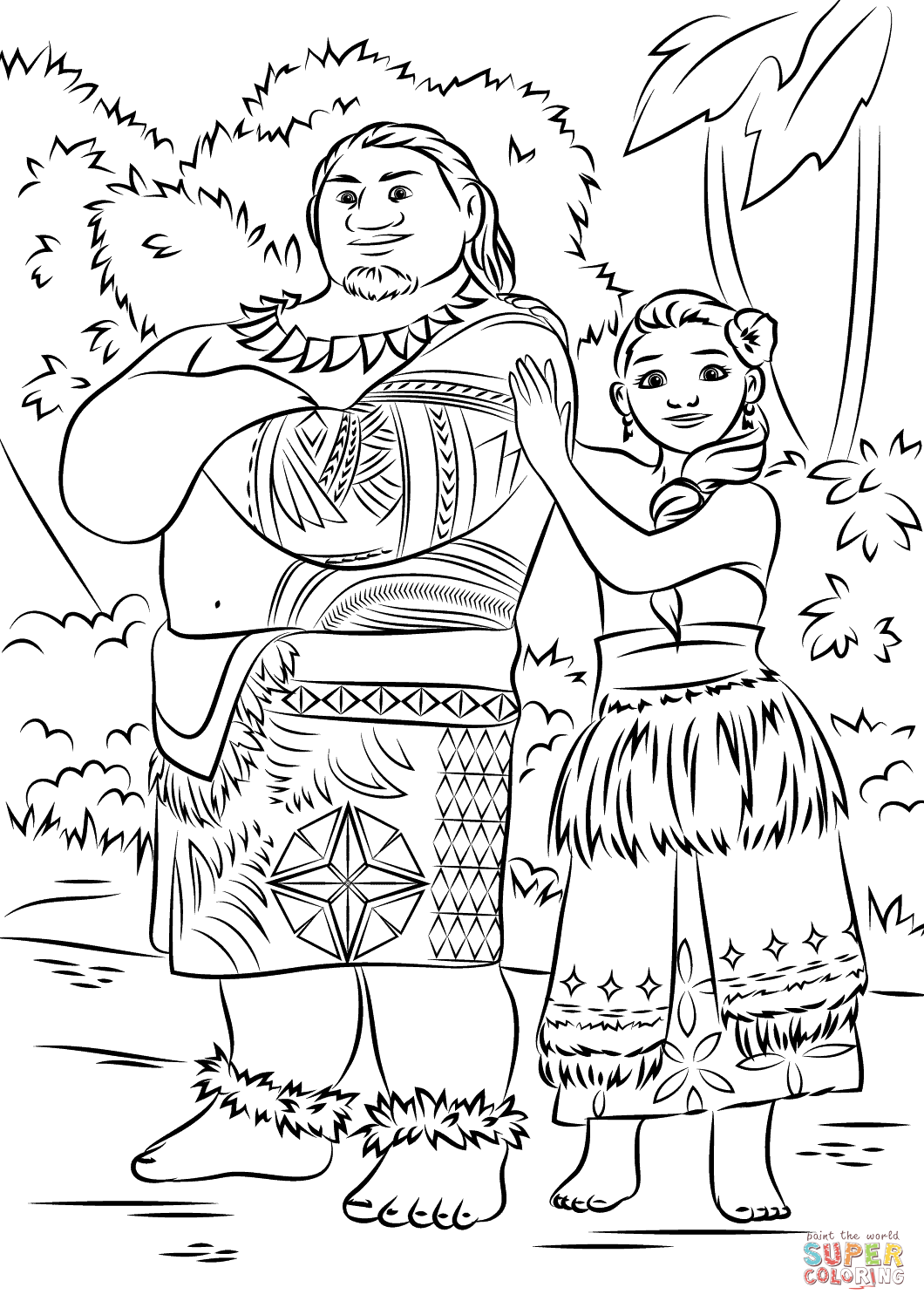 Tui and Sina from Moana coloring page | Free Printable Coloring Pages