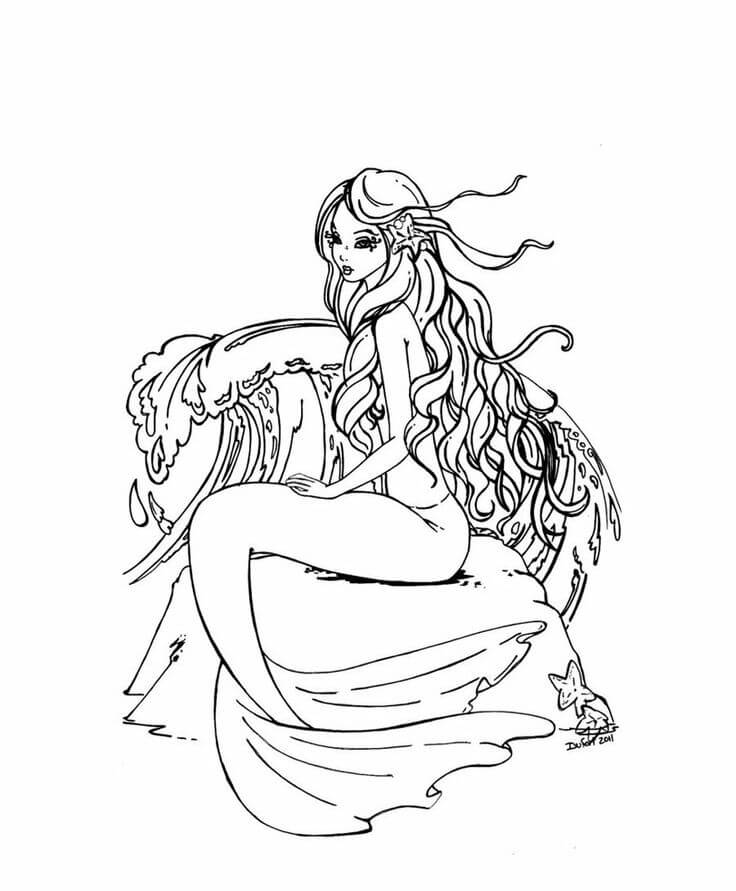 Mermaid For Adults - Coloring Pages for Kids and for Adults
