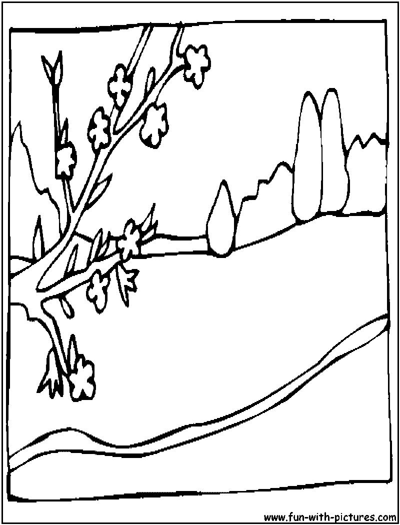 Coloring Page Landscape - Spring landscape coloring pages hicoloringpages