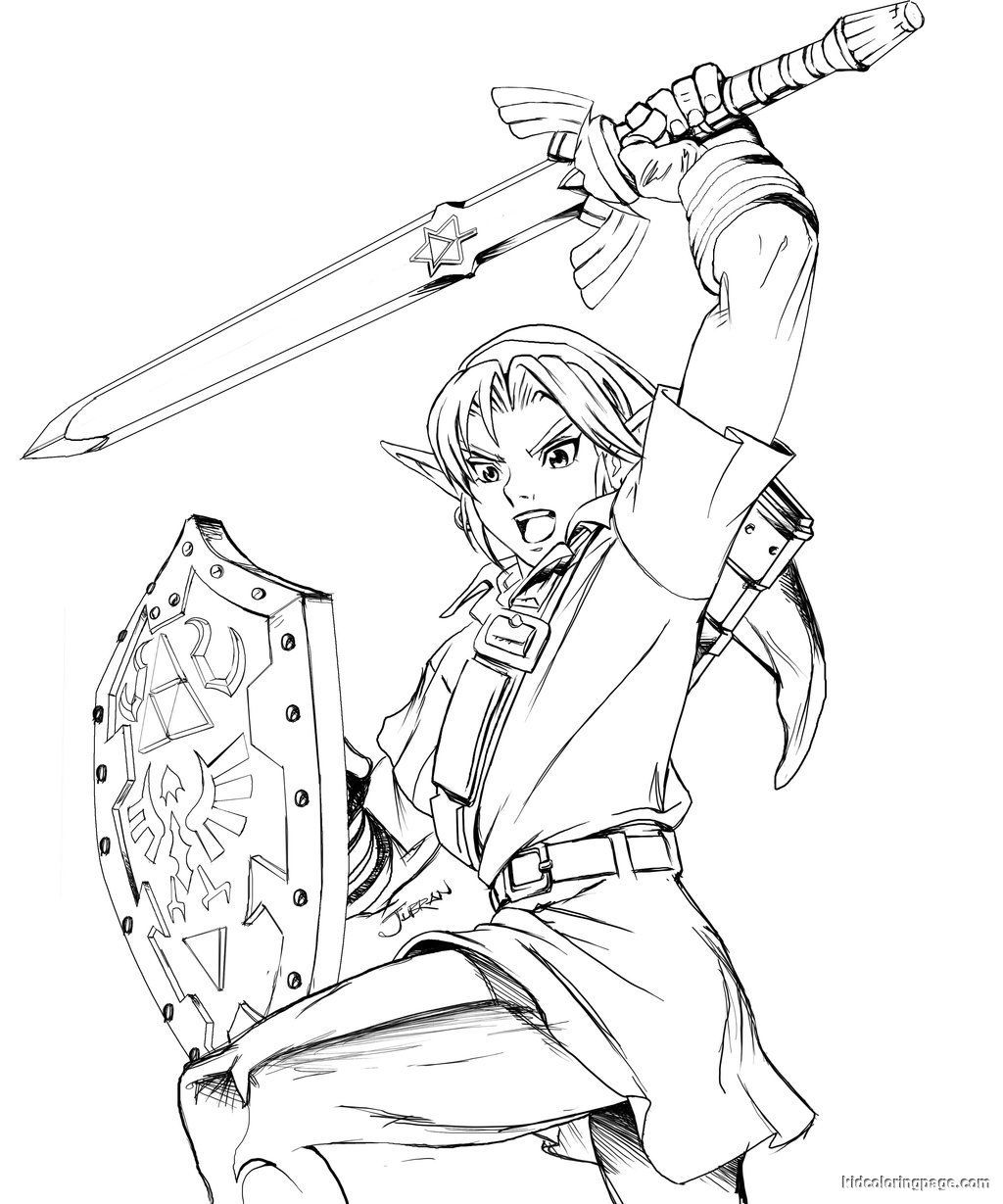 Legend Of Zelda Link Coloring Pages: Free Printable Zelda Coloring ...
