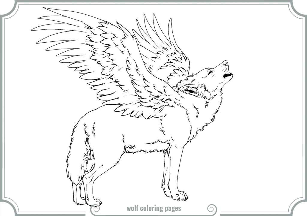 image regarding Printable Wolf Coloring Pages known as Winged Wolf Coloring Web pages Printable Coloring Web pages