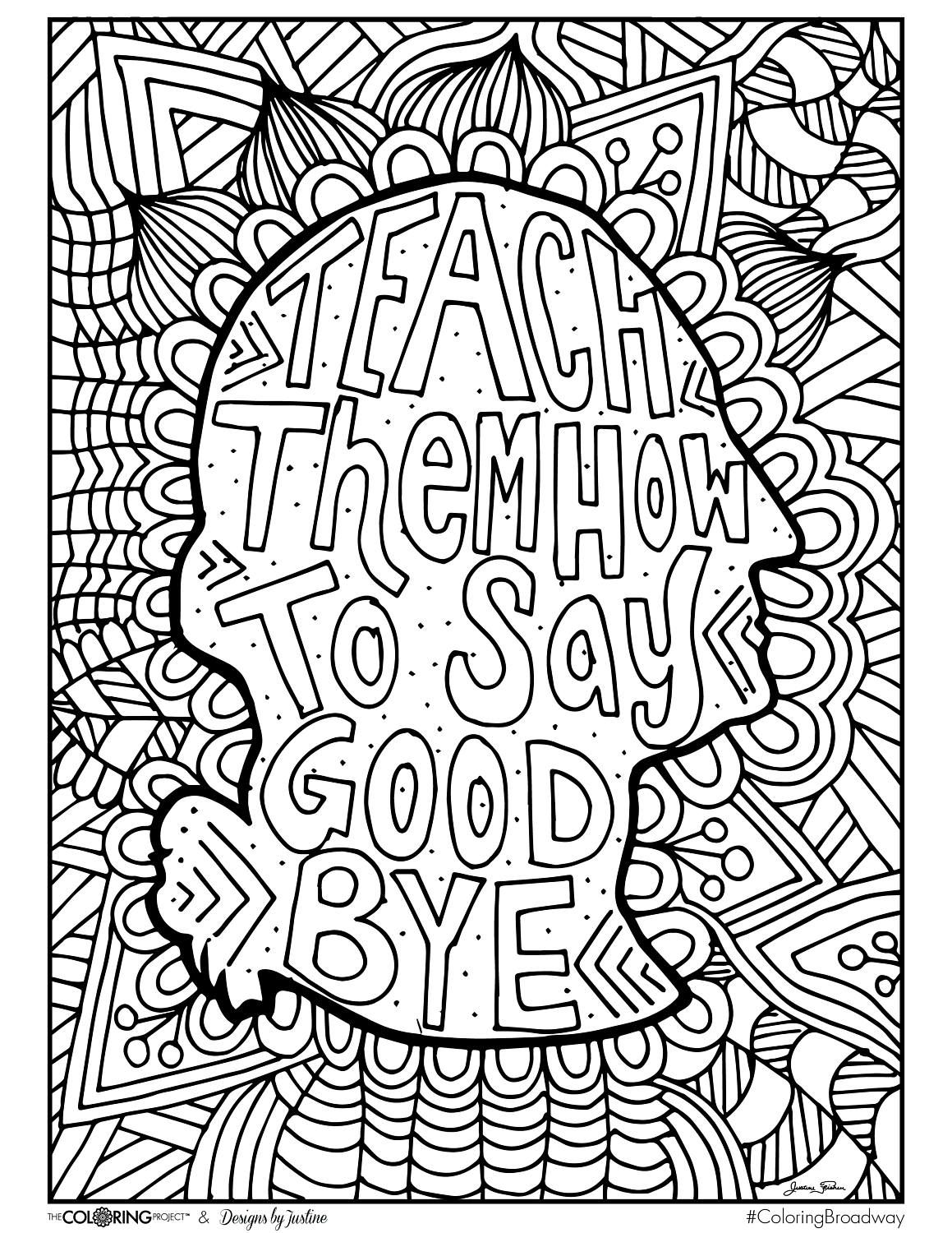 Coloring Broadway HAMILTON How to Say Goodbye Note Card | Coloring pages,  Quote coloring pages, Coloring books