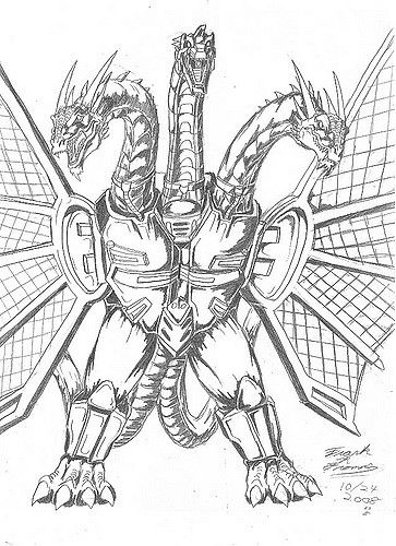 King Ghidorah Coloring Pages Sketch ...pinterest.com