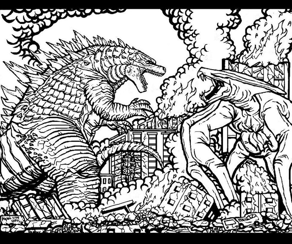 free godzilla 2014 coloring pages - photo#1