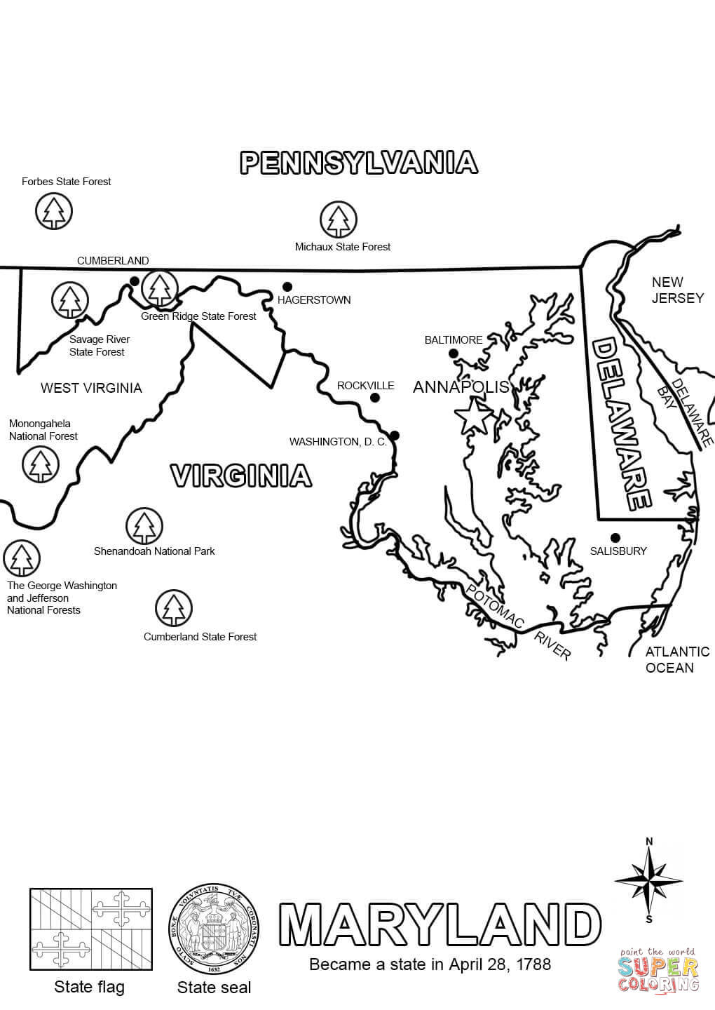maryland coloring page coloring home