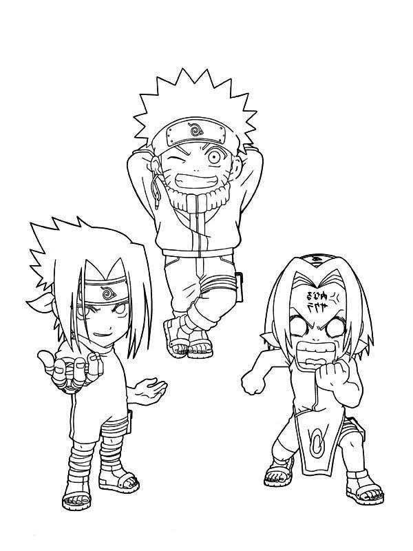 Cute Sasuke Naruto And Sakura Coloring Page Free Printable