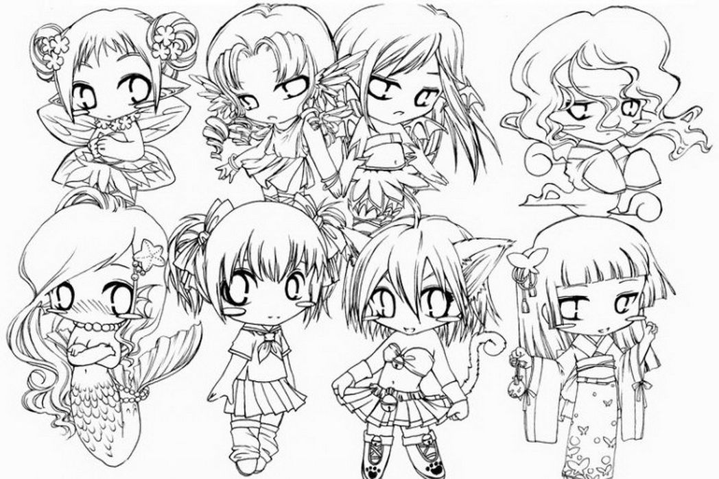 Disney Princess Coloring Pages Anime Chibi Girl Coloring Coloring