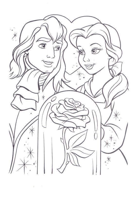 Beauty And Beast Coloring Pages Coloring Home