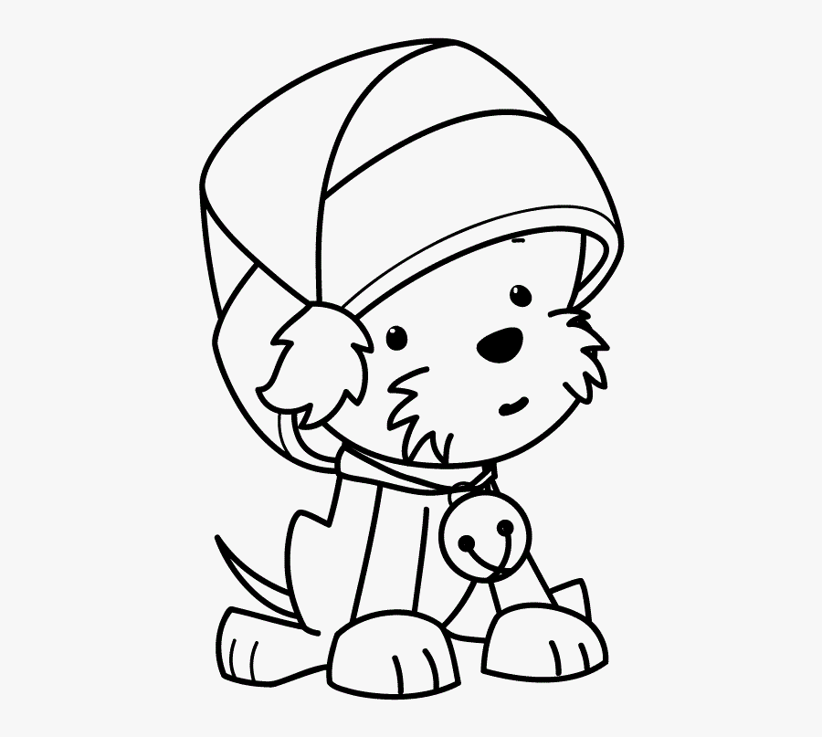 Funny Puppy Wearing Christmas Hat Coloring Pages - Cute Christmas Dogs  Coloring Pages , Free Transparent Clipart - ClipartKey