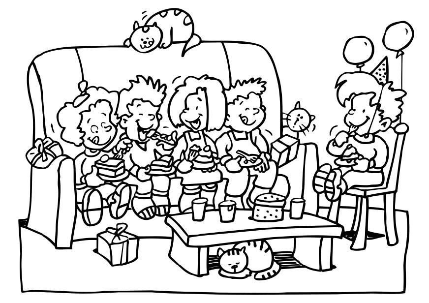 Birthday Party Coloring Page  Coloring Home