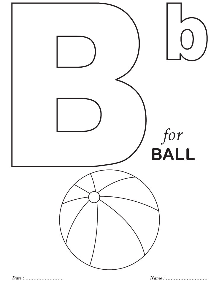 Letter B Coloring Pages For Preschoolers : Free letter b coloring worksheet for kindergarten kids