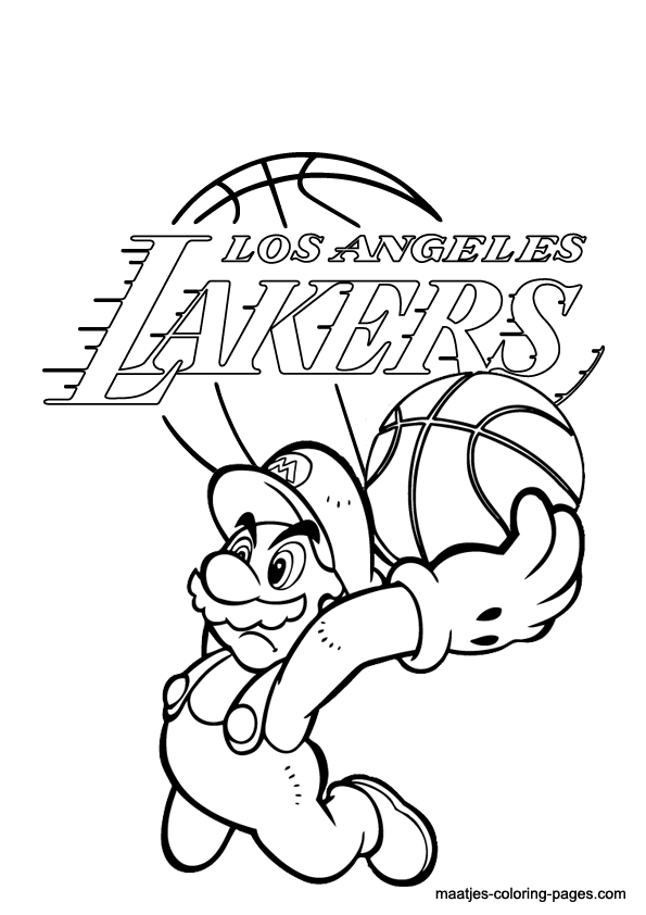 la lakers and super mario coloring page