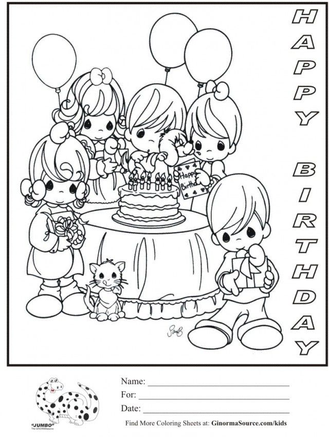 Hello kitty birthday card printable free coloring home for Birthday party coloring page
