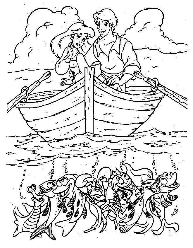 Related Pictures Princess Ariel With Prince Eric On Boat Coloring