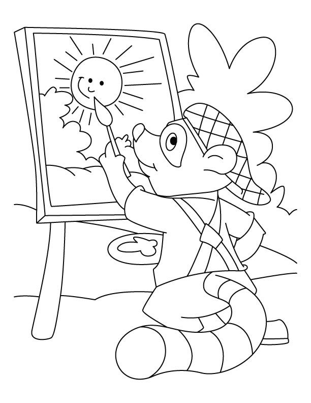 Raccoon Coloring Page - Coloring Home