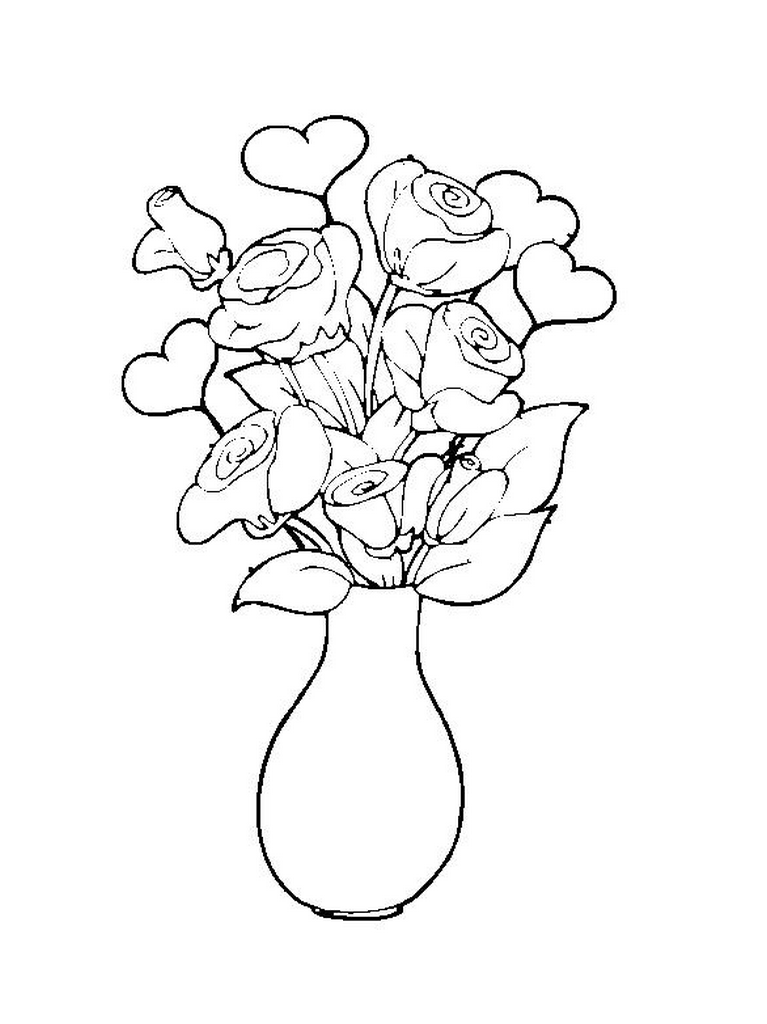 vase of roses colouring pages - Coloring Pages Roses A Vase