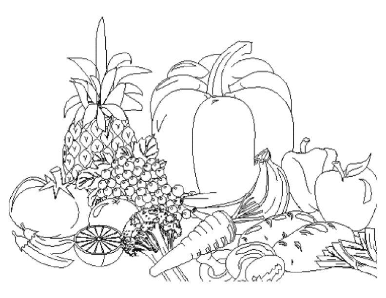 Fruit And Vegetables Coloring Pages - AZ Coloring Pages
