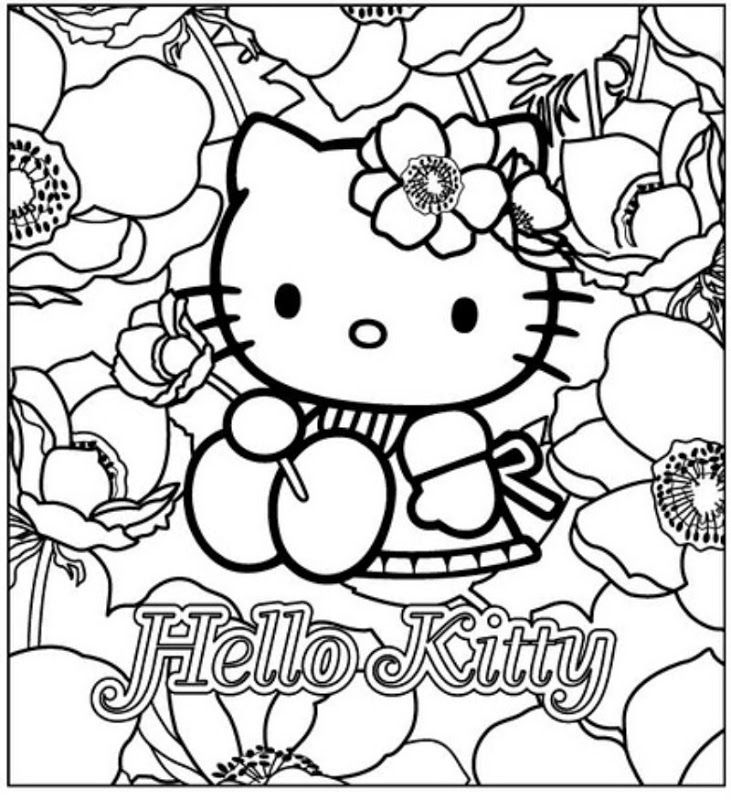 Hello Kitty With Flowers Coloring Pages : Hello kitty with flowers free coloring pages