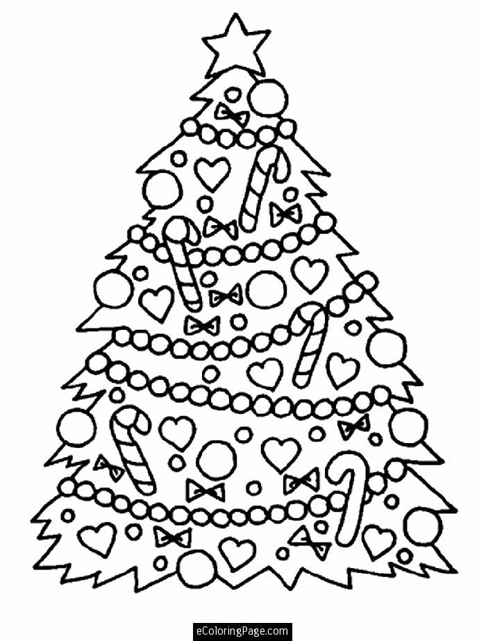 Merry Christmas Tree Coloring Page for Kids | ecoloringpage.com
