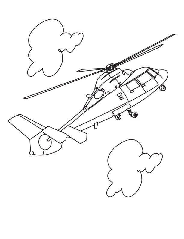 Cute Helicopter Coloring Pages Helicopter in Cloud Coloring