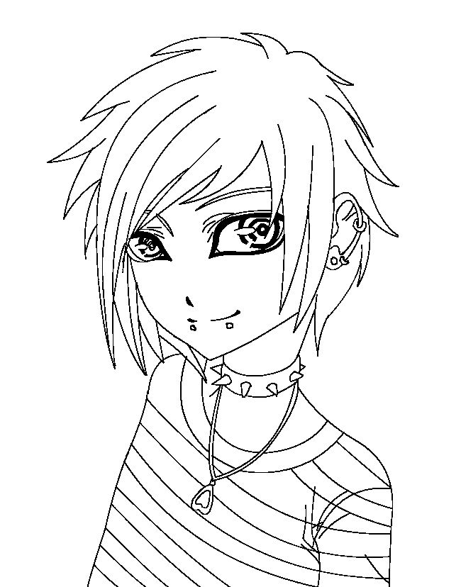 anime girl coloring pages emo - photo#34