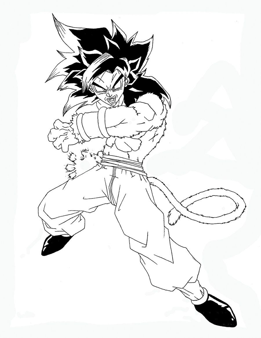 Dragon Ball Gt Goku Super Saiyan 4 Coloring Pages