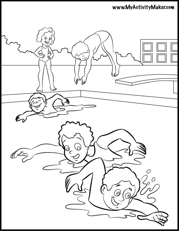Girl Swimmer Coloring Page Coloring Home