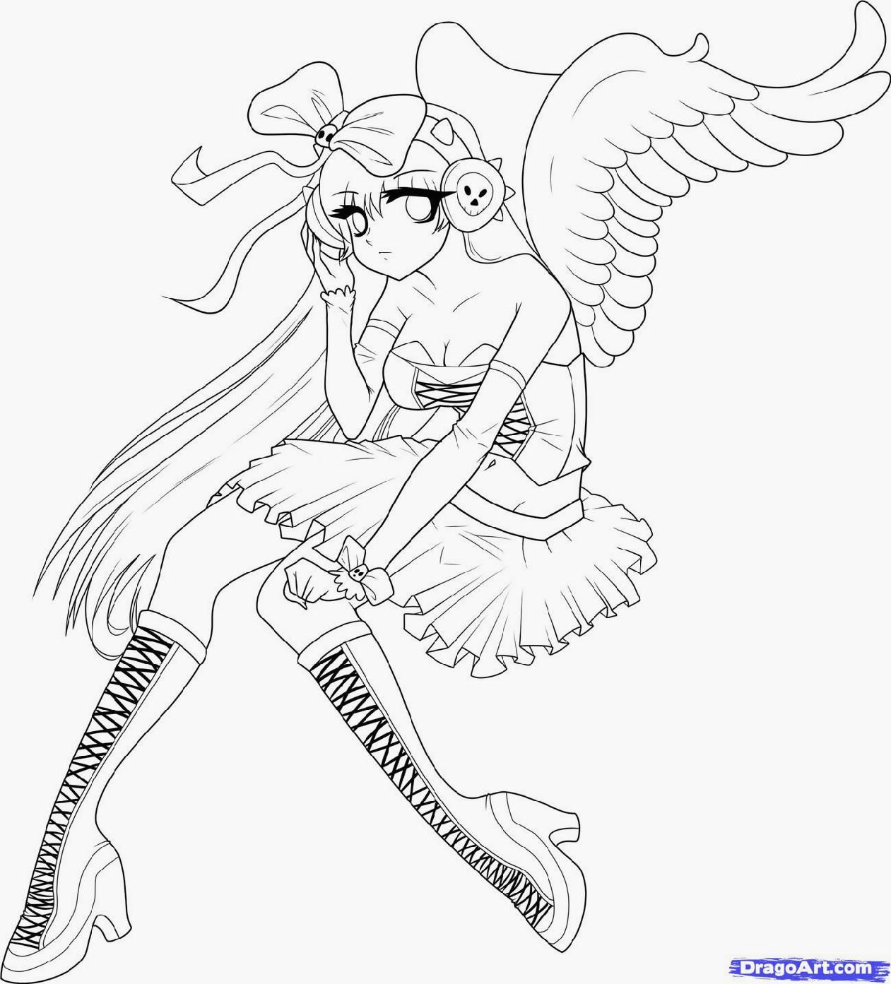 Anime Angel Coloring Pages To Print - Coloring Pages For All Ages