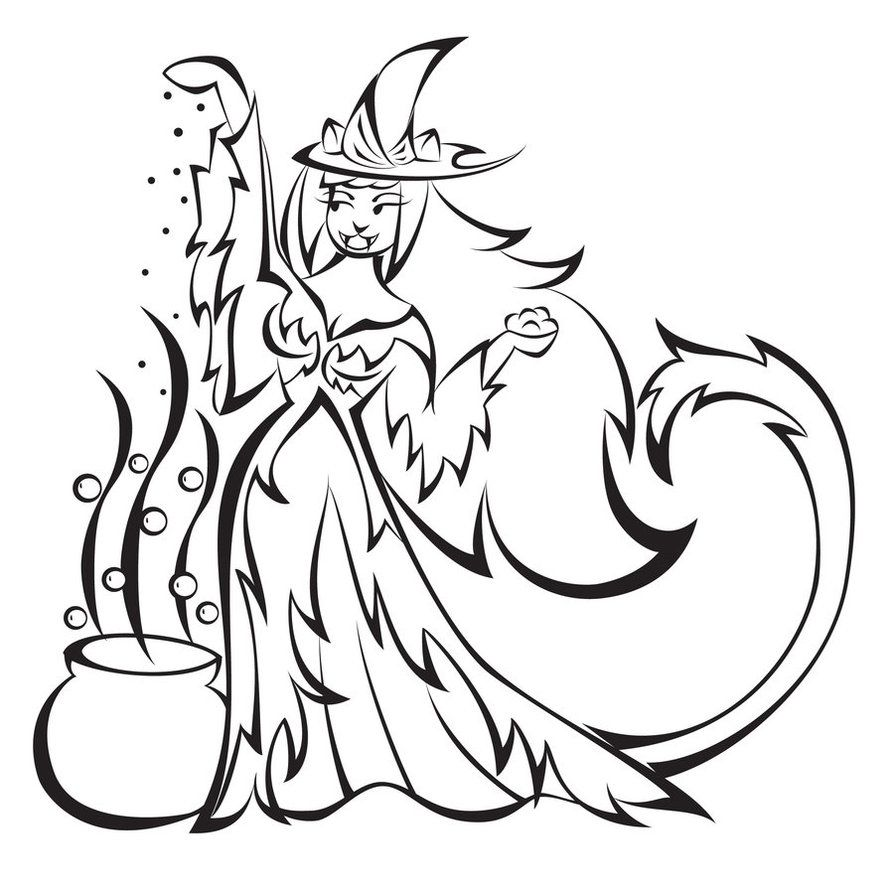 Free Coloring Page Of Witches - Coloring Home
