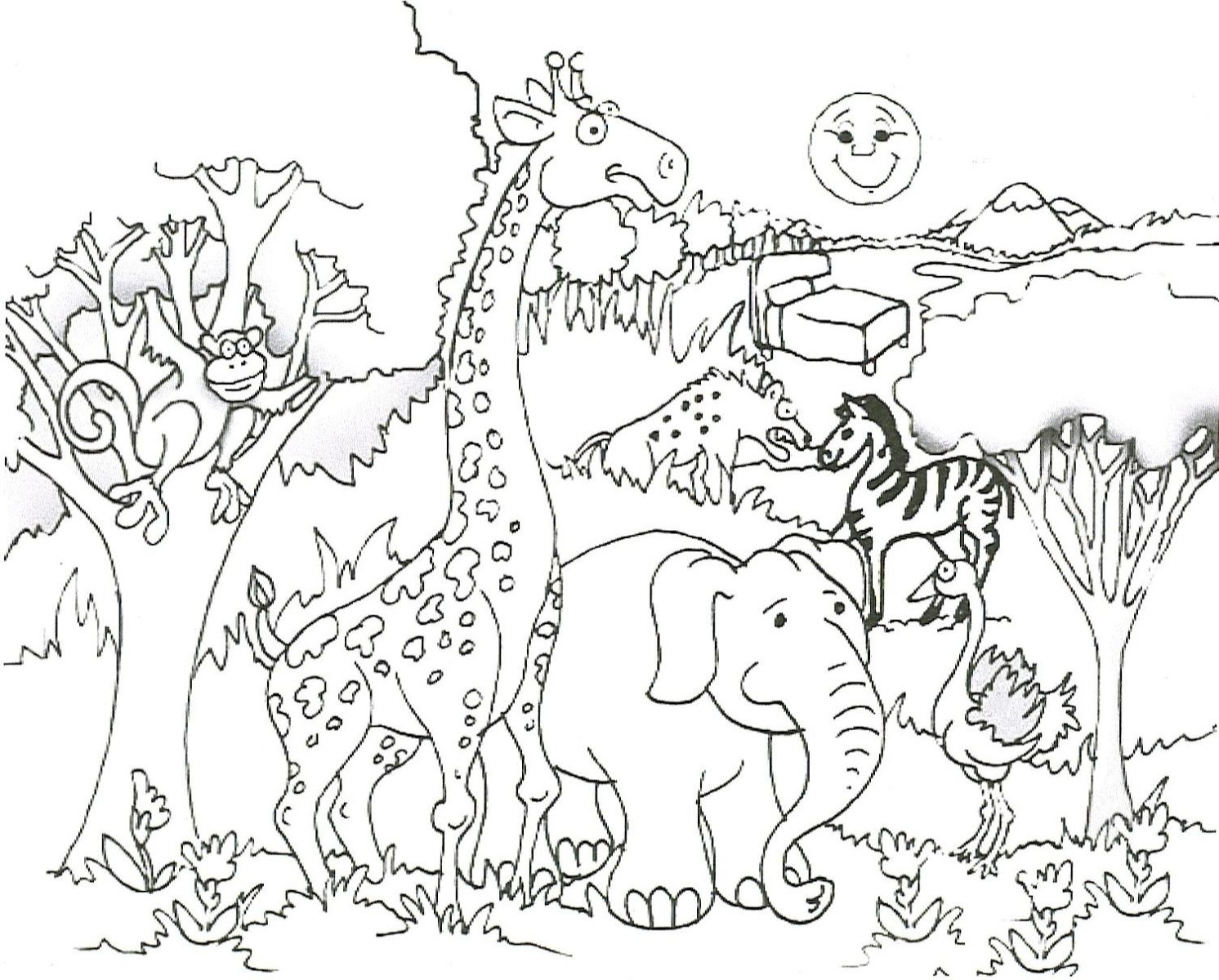 savanna trees coloring pages - photo#17