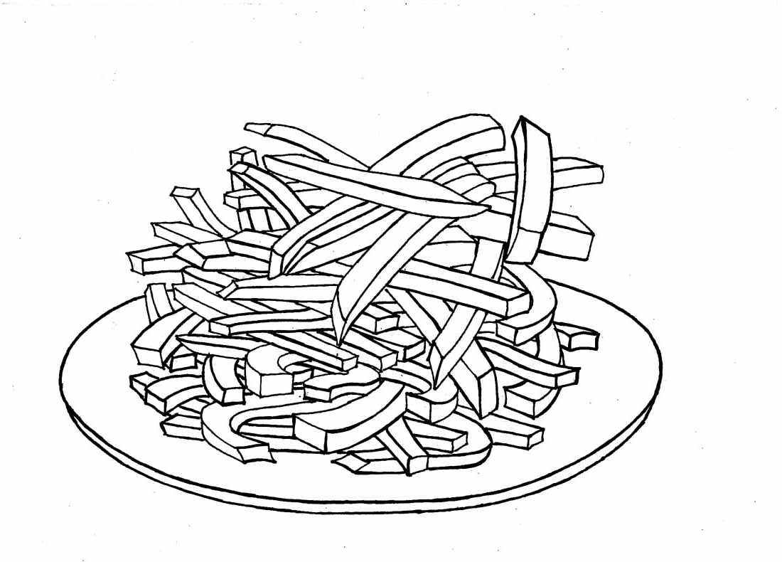 - French Fries Coloring Page - Coloring Home