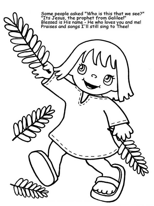 a little girl wave palm tree branches in palm sunday coloring page