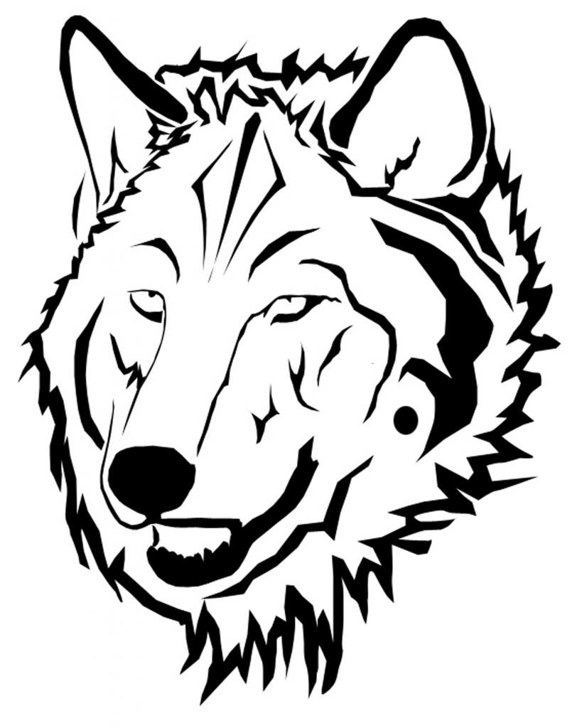 Wolf face coloring - photo#11